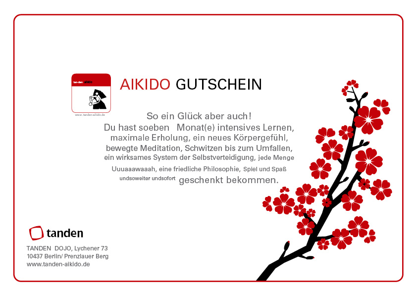 gutschein aikido tanden dojo berlin. Black Bedroom Furniture Sets. Home Design Ideas
