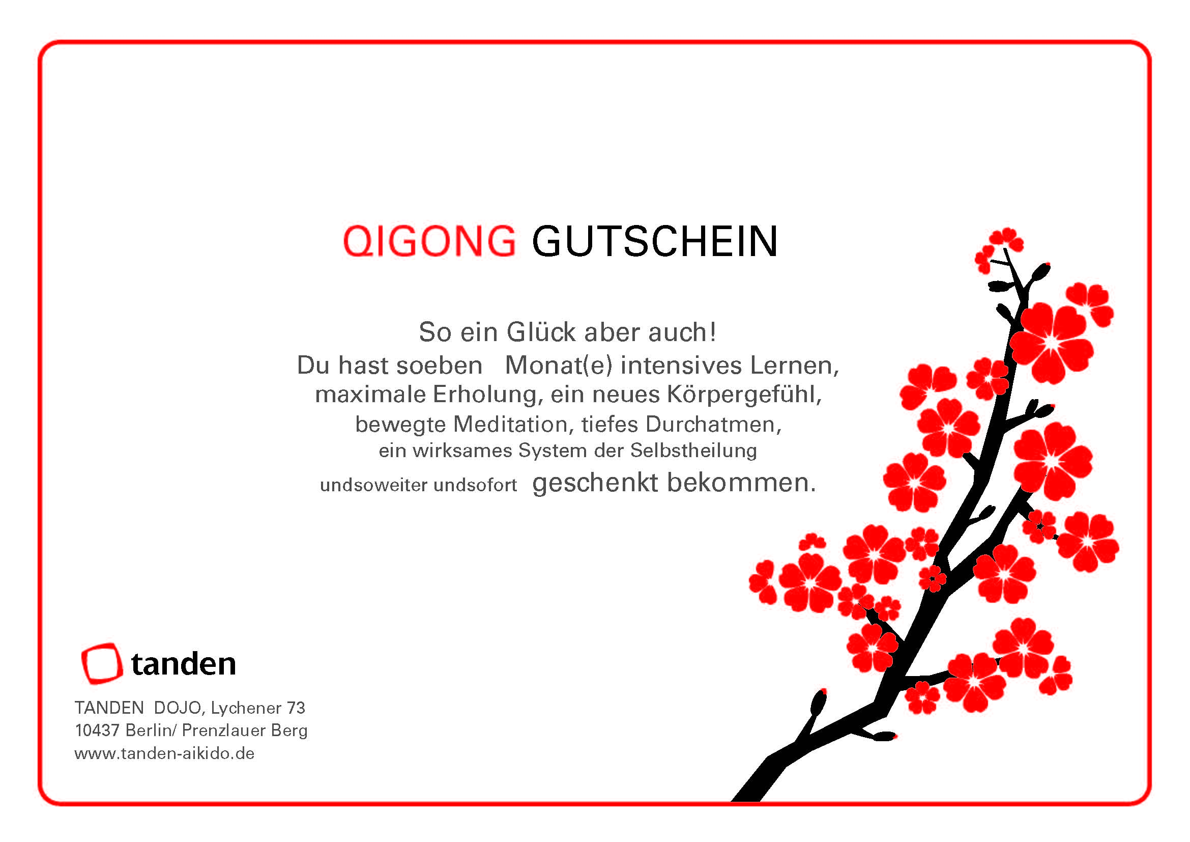 Gutschein Qigong - Tanden Dojo Berlin