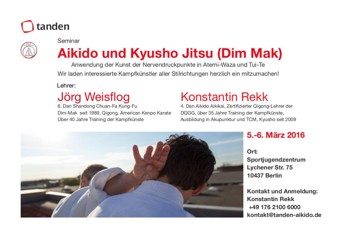 Aikido und Kyusho Seminar in Berlin Ausschreibung