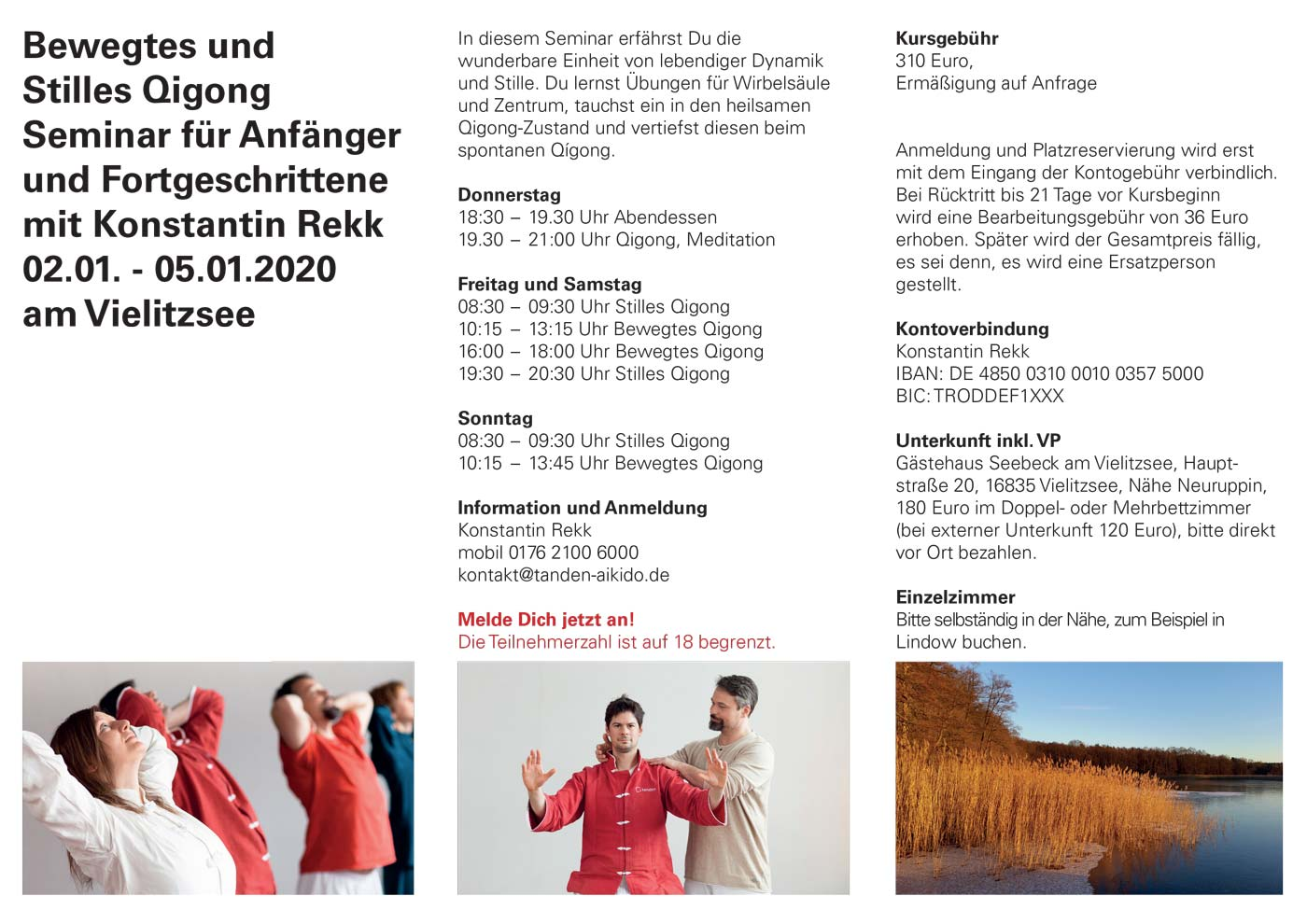 Qigong Seminar am Vielitzsee, Neujahr Januar 2020