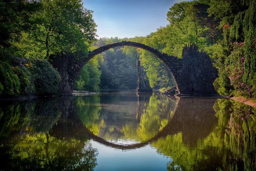 Brücke über Wasser, Bäume, Fluss, Kanal